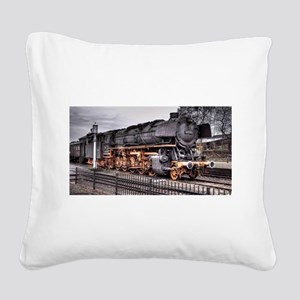 Vintage Locomotive Steam Train Square Canvas Pillo