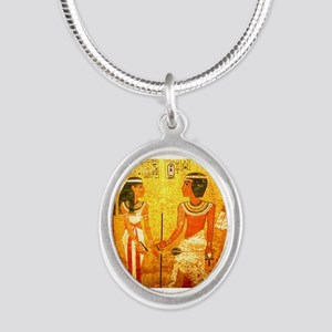 Cool Egyptian Art Silver Oval Necklace
