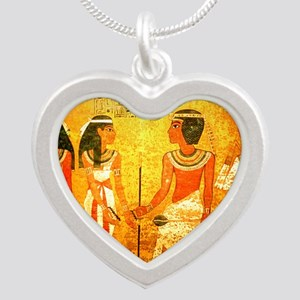 Cool Egyptian Art Silver Heart Necklace