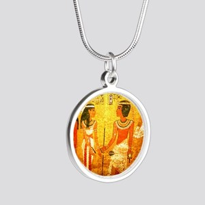 Cool Egyptian Art Silver Round Necklace
