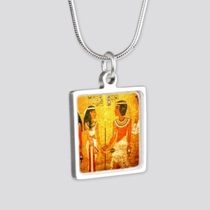 Cool Egyptian Art Silver Square Necklace