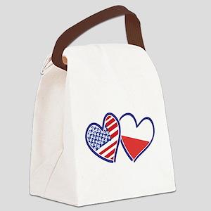 USA Poland Flag Hearts Canvas Lunch Bag