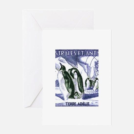 1956 French Antarctic Adelie Penguins Stamp Greeti