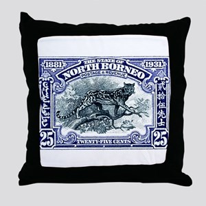 1931 North Borneo Clouded Leopard Stamp Throw Pill