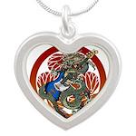 Dragon Bass 02 Silver Heart Necklace