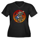 Dragon Bass 02 Women's Plus Size V-Neck Dark T-Shi