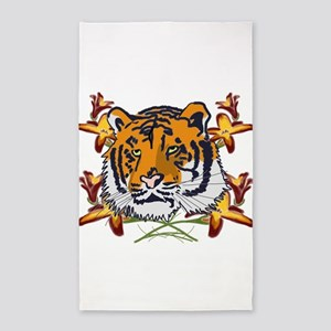 Tiger_with_flowers 3'x5' Area Rug