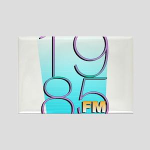 1985FM White Logo Rectangle Magnet
