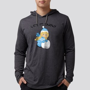 Let It Snow - Blonde Hair Blue E Mens Hooded Shirt