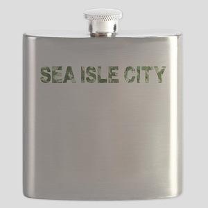 Sea Isle City, Vintage Camo, Flask