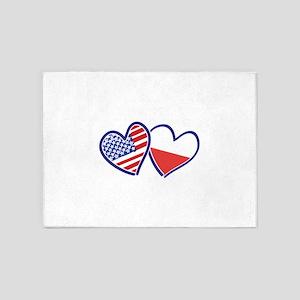 USA Poland Flag Hearts 5'x7'Area Rug