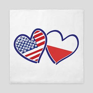 USA Poland Flag Hearts Queen Duvet