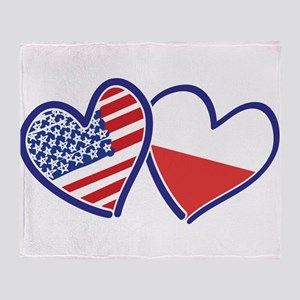 USA Poland Flag Hearts Throw Blanket
