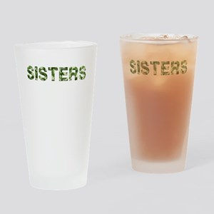 Sisters, Vintage Camo, Drinking Glass
