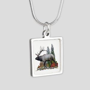 Bull elk Silver Square Necklace