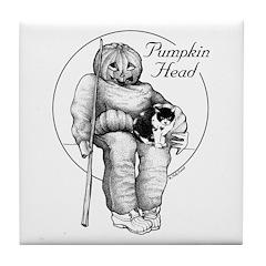 Pumpkin Head Art Tile Coaster