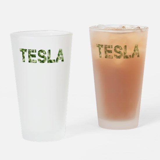 Tesla, Vintage Camo, Drinking Glass