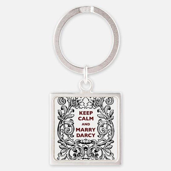 Keep Calm and Marry Darcy Square Keychain