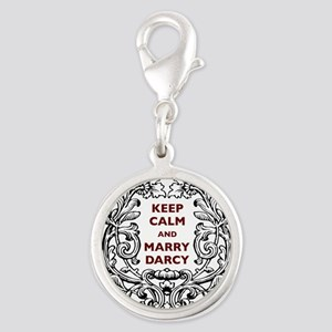 Keep Calm and Marry Darcy Silver Round Charm
