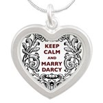 Keep Calm and Marry Darcy Silver Heart Necklace
