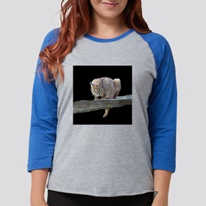 Caracal Cat Crouching (15) Womens Baseball Tee