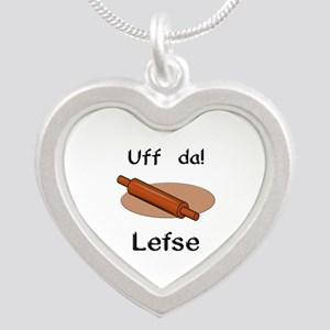 Uff da! Lefse Silver Heart Necklace