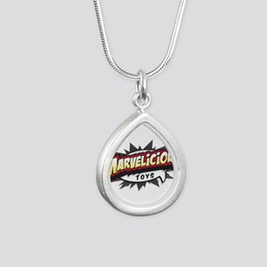 Marvelicious Logo Silver Teardrop Necklace