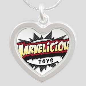 Marvelicious Logo Silver Heart Necklace