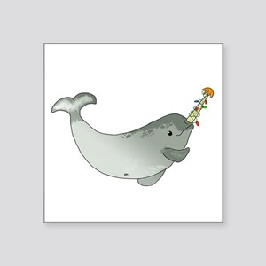 """Christmas Narwhal Square Sticker 3"""" x 3"""""""