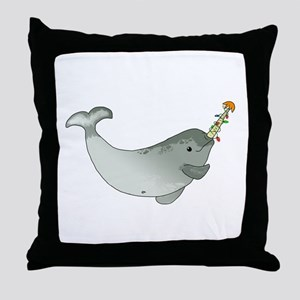 Christmas Narwhal Throw Pillow