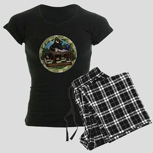 Coffee Drinking Bear Women's Dark Pajamas