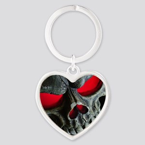 Red Eyed Skull Heart Keychain