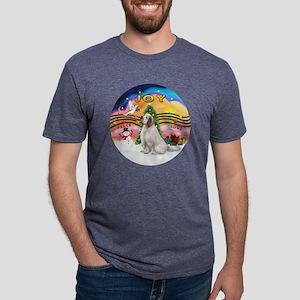 R-XmasMusic2-ClumberSpaniel Mens Tri-blend T-Shirt