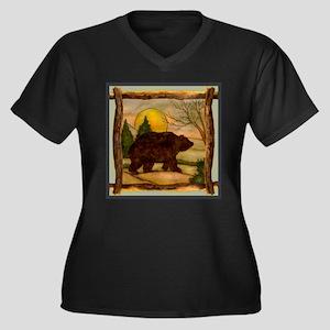 Bear Best Seller Women's Plus Size V-Neck Dark T-S