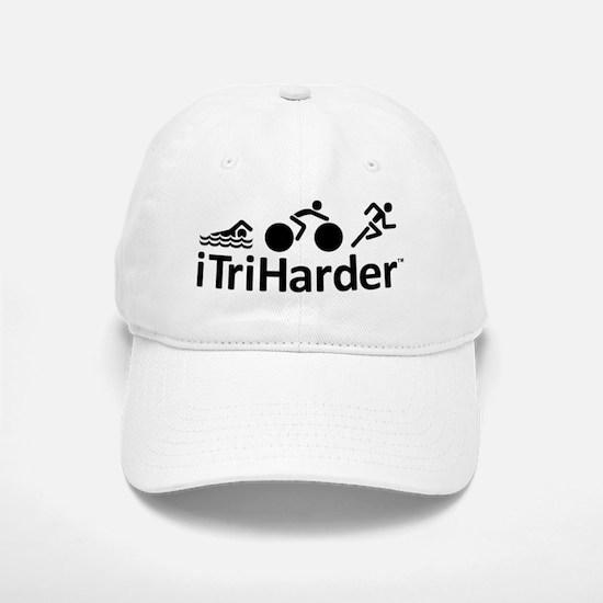 iTriHarder triathlon motto Baseball Baseball Cap