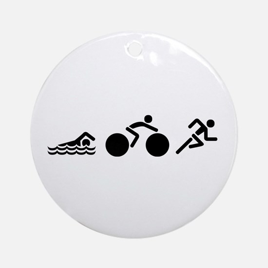 Triathlon Icons Round Ornament