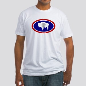Wyoming State flag oval Fitted T-Shirt