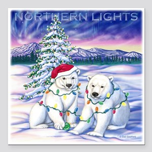 "Northern Lights Square Car Magnet 3"" x 3"""