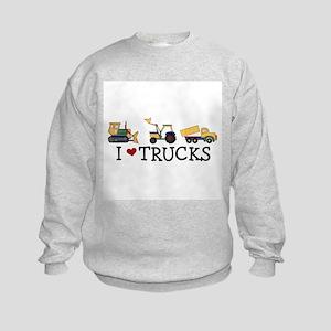 I Love Trucks Kids Sweatshirt