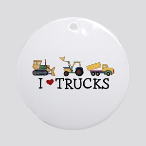 I Love Trucks Ornament (Round)
