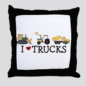 I Love Trucks Throw Pillow