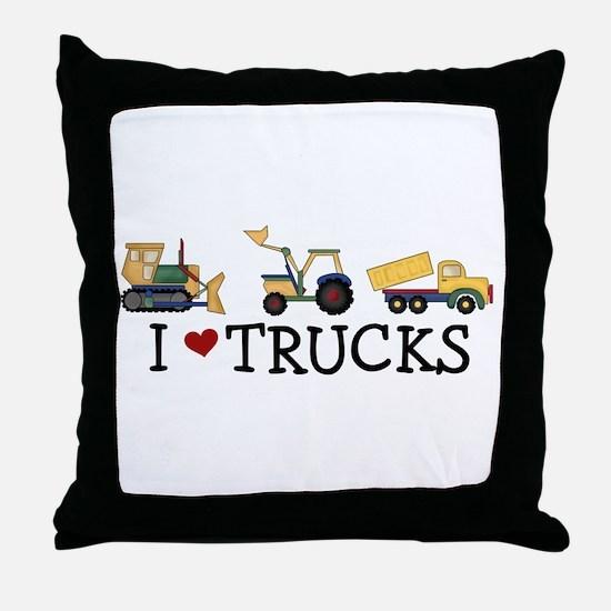I Love Trucks Throw Pillow