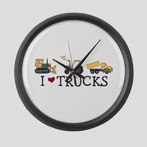I Love Trucks Large Wall Clock