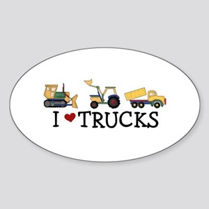I Love Trucks Sticker (Oval)