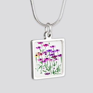 Wildflowers Silver Square Necklace