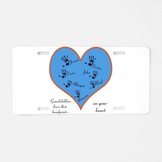 Handprints on your heart - 7 kids Aluminum License
