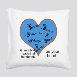 Handprints on your heart - 7 kids Square Canvas Pi
