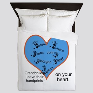 Handprints on your heart - 7 kids Queen Duvet