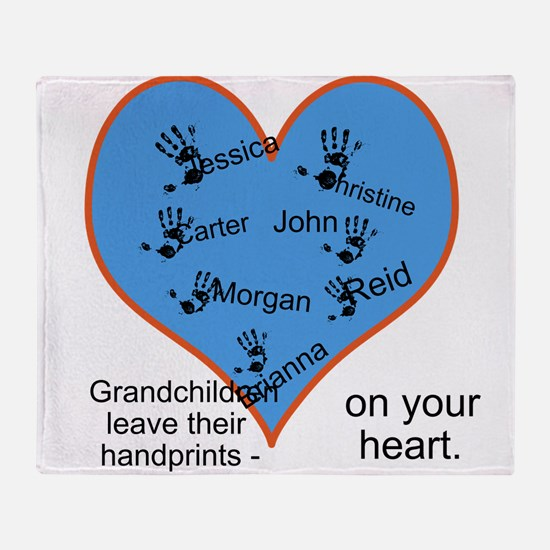 Handprints on your heart - 7 kids Throw Blanket