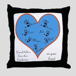 Handprints on your heart - 7 kids Throw Pillow